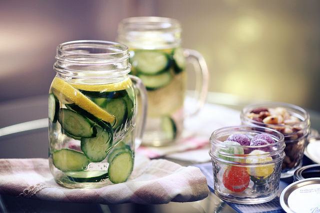 mason jar cucumber water snacks