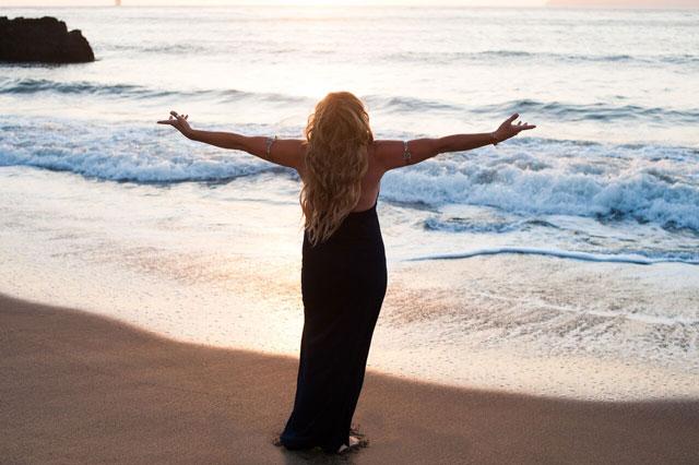 ocean, woman, open heart, sea, beach