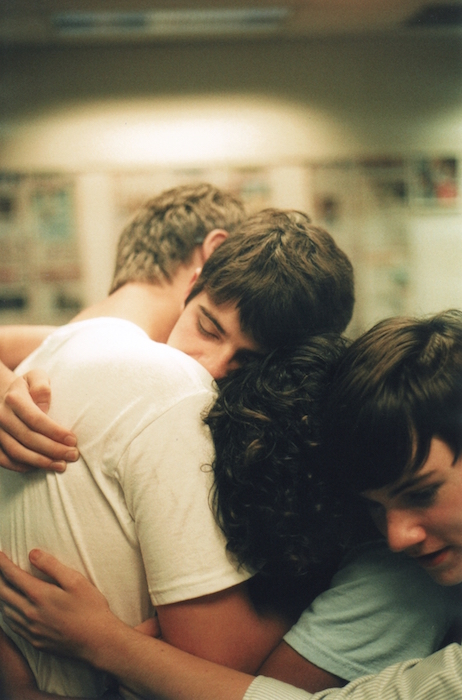 Bromance friends hug teens boys