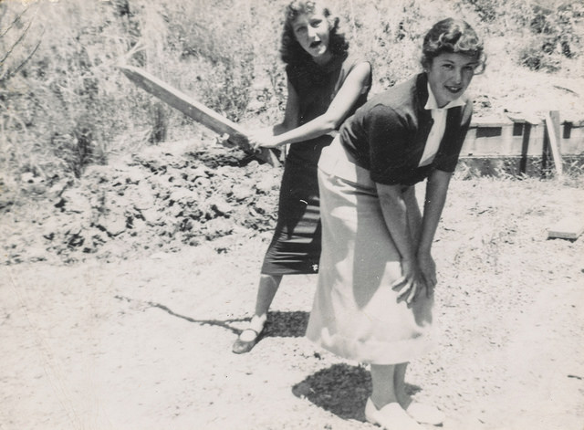 vintage women friends spank