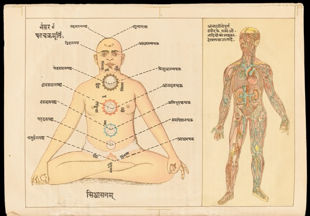 L0072457 Two drawings: the easiest method how to practice pranayam by Credit: Wellcome Library, London. Wellcome Images images@wellcome.ac.uk http://wellcomeimages.org Illustration of the six chakras of tantric yoga in Sanskrit and Hindi. One of eight col. plates drawing explicit parallels between the yogic view of chakras etc., and the medical/anatomical view of the body. Svamihamsasvarupakrtam Satcakranirupanactiram : bhasyasamalamkrtam bhasatikopetan ca = Shatchakra niroopana chittra with bhashya and bhasha containing the pictures of the different nerves and plexuses of the human body with their full description showing the easiest method how to practise pranayam by the mental suspension of breath through meditation only ; by Shri Swami Hansa Swaroop. Sanskrit MS 391. 190? Svamihamsasvarupakrtam acakranirupaacitram : bhayasamalamkrtam bhaaikopetañ ca = Shatchakra niroopana chittra with bhashya and bhasha containing the pictures of the different nerves and plexuses of the human body with their full description showing the easiest method how to practise pranayam by the mental suspension of breath through meditation only ; by Shri Swami Hansa Swaroop. Hamsasvarupa Published: [190?] Copyrighted work available under Creative Commons Attribution only licence CC BY 4.0 http://creativecommons.org/licenses/by/4.0/