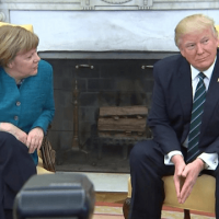 Watch: Donald Trump refuses to shake Angela Merkel's hand.