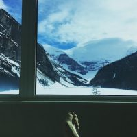 Waylon at the best view ever: Fairmont Chateau Lake Louise.
